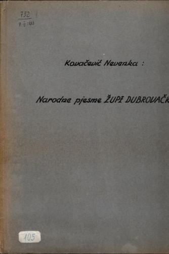 Narodne pjesme Župe dubrovačke, 1952