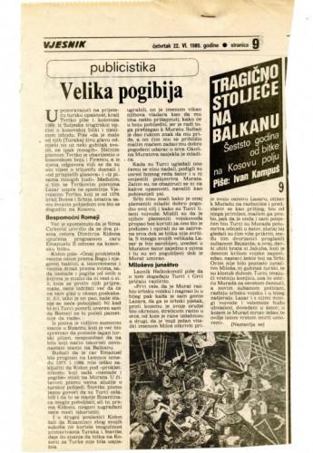 600 godina od bitke na Kosovu polju (9. dio) - Velika pogibija