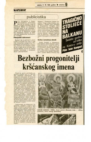 600 godina od bitke na Kosovu polju (4. dio) - Bezbožni progonitelji kršćanskog imena