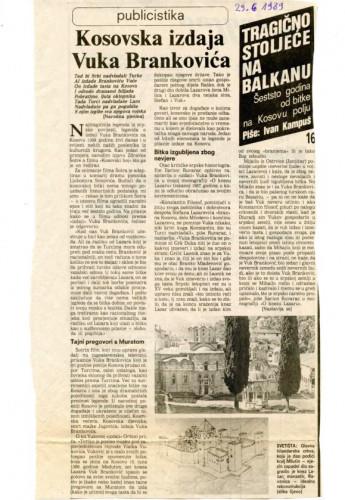 600 godina od bitke na Kosovu polju (16. dio) - Kosovska izdaja Vuka Brankovića; Hrvati u Kosovskoj bitki (9. dio)