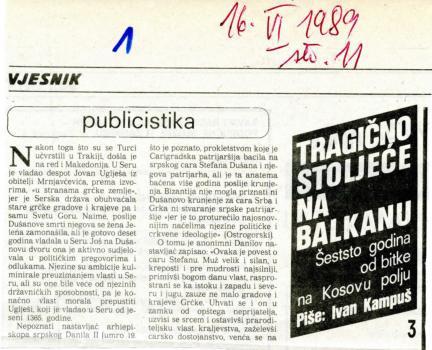600 godina od bitke na Kosovu polju (3. dio) - Zakašnjelo prokletstvo carigradskog patrijarha