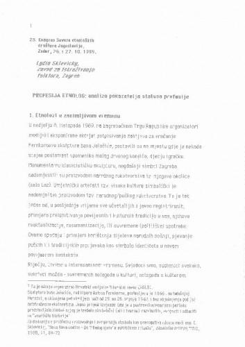 Profesija etnolog: analiza pokazatelja statusa profesije