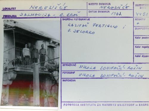 Folklorna građa s otoka Brača, 1967. Kazivač Fertiglio i Olinko Delorko.