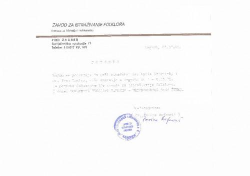 Potvrda ZIF-a za terensko snimanje povodom Dana žena