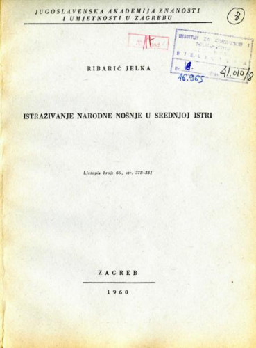 Istraživanje narodne nošnje u srednjoj Istri