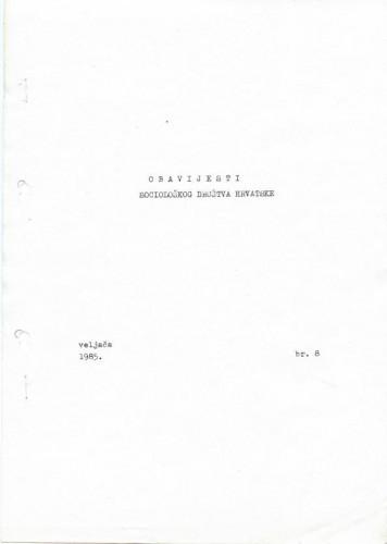 Obavijesti SDH-a, 1985., br. 8