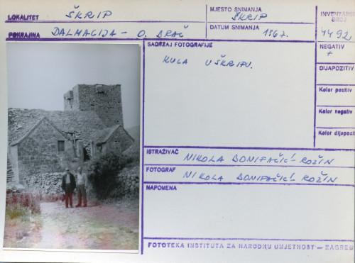 Folklorna građa s otoka Brača, 1967. Kula u Škripu.
