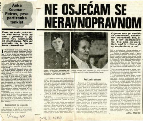 Žene u NOB-i: razgovor s Ankom Kecman-Petrov