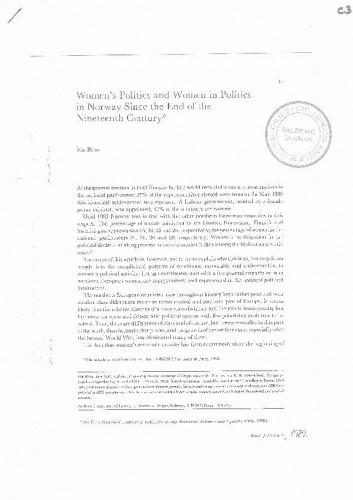 Ida Blom - Women's Politcs and Women in Politics in Norway...