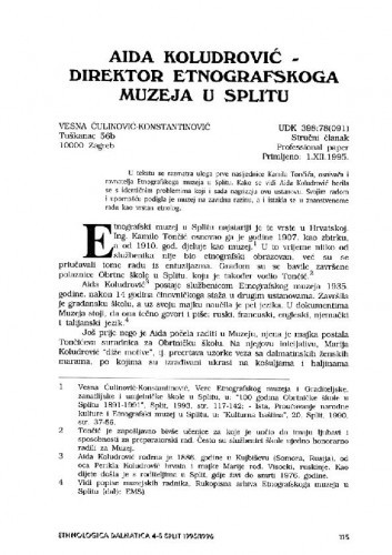 Aida Koludrović - direktor Etnografskoga muzeja u Splitu