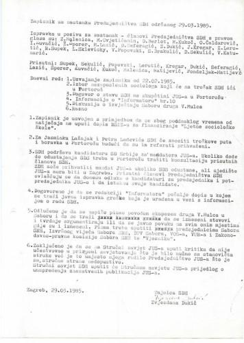 Zapisnik sa sastanka Predsjedništva SDH-a, 1985.