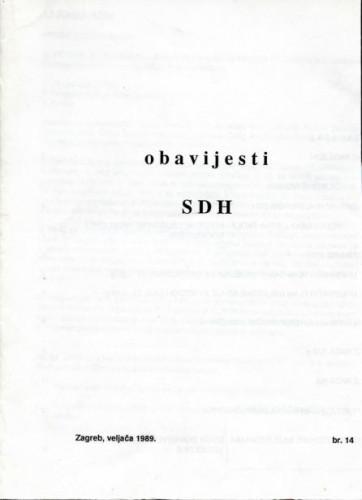 Obavijesti SDH-a, 1989., br. 14