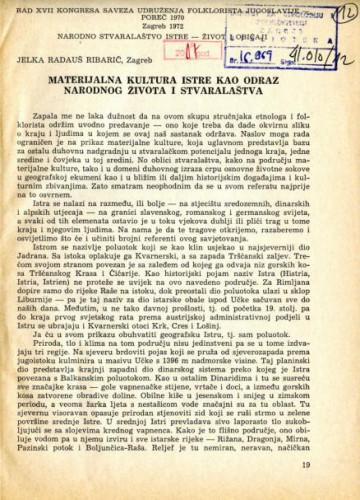 Materijalna kultura Istre kao odraz narodnog života i stvaralaštva